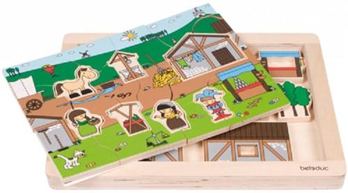 Beleduc  houten lagenpuzzel Rollenspel Markt