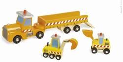 Janod Story houten speelstad voertuig Vrachtwagen bouwplaats
