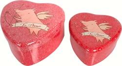 Maileg 2  Metal Heart, Pig, Set