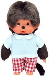 Monchhichi  knuffelpop Jongen Rood geruite broek - 20 cm