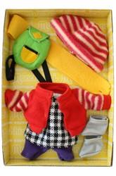 Monchhichi  knuffelpop kleren Boutique B Fleecejack rood met winterse accessoires