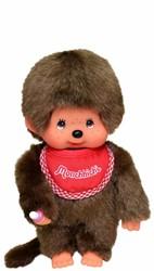 Monchhichi  knuffelpop Jongen met slab Rood - 20 cm
