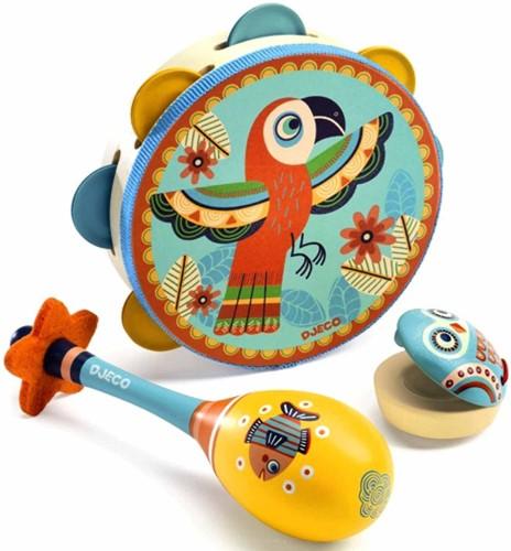 Djeco Set de 3 instruments *Tambourin-Maracas-Castagnette