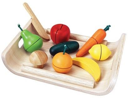 Plan Toys houten keukenaccessoires groenten en fruit