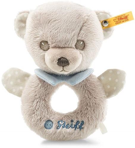 Steiff Hello Baby Teddybeer Levi grijpring met rammelaar in cadeauverpakking
