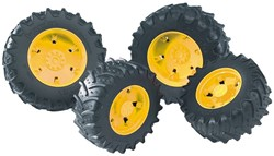 Bruder Access.: Twin tyres with yellow rims f. tractor Series 03000