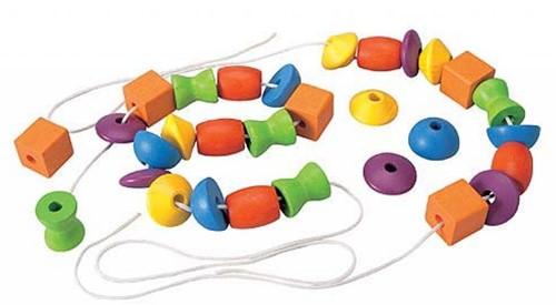 Plan Toys leerspel houten kralen rijgen