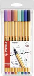 Stabilo teken en verfspullen fineline point 88 in etui 8 donkere kleuren