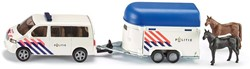 Siku  miniatuur speelvoertuig VW politie paardentrailer