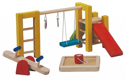 Plan Toys houten poppenhuis speeltuin