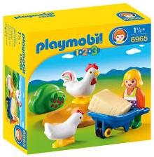 Playmobil  1.2.3. Boerin met haan en kip 6965
