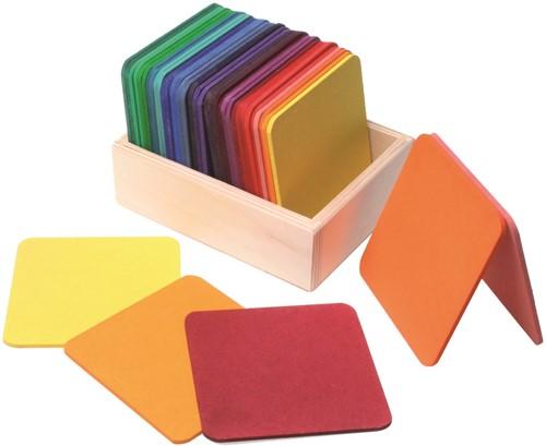 Grimm's houten vierkanten bouwplankjes gekleurd