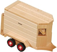 Fagus  houten speelvoertuig paardentrailer 32cm-3