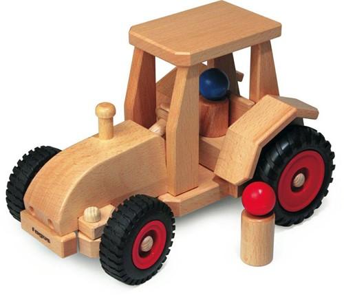 Fagus  houten speelvoertuig tractor met kap be 29cm