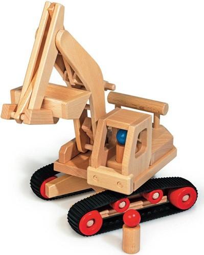 Fagus  houten speelvoertuig graafmachine 46cm