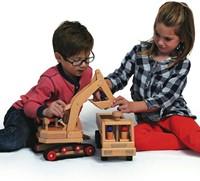 Fagus  houten speelvoertuig graafmachine 46cm-3