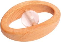 Grimm's houten rammelaar met bergkristal