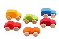 Grimm's 6 gekleurde houten auto's