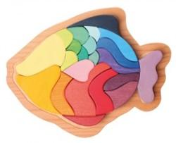 Grimm's 22-delige gekleurde houten Vis 43682