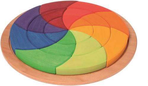 Grimm's houten puzzel cirkel gekleurd groot