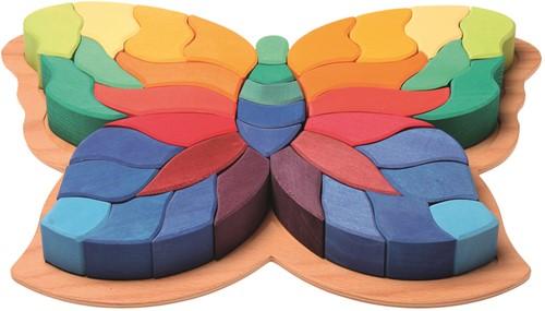 Grimm's houten puzzel vlinder gekleurd groot - 38 stukjes