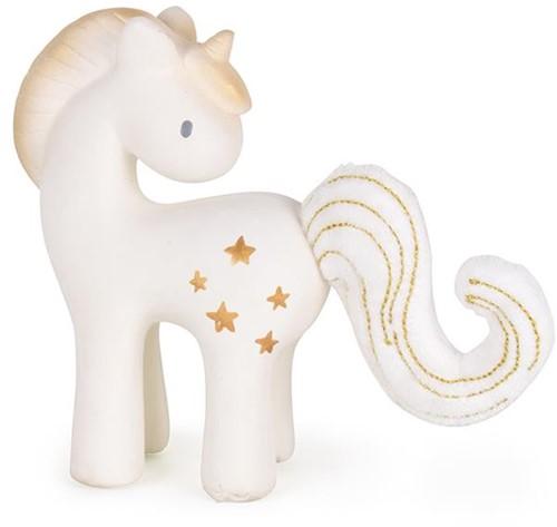 Tikiri Fairytales: EENHOORN Shining Stars 13cm, in natuurlijk rubber en katoen, met belletje, in vensterdoos, 0+