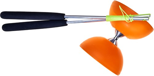 Acrobat Rubber Diabolo Met Aluminium Stokken - Oranje