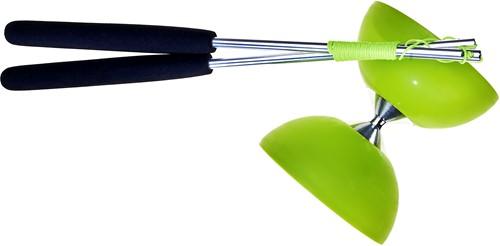 Acrobat Rubber Diabolo Met Aluminium Stokken - Groen