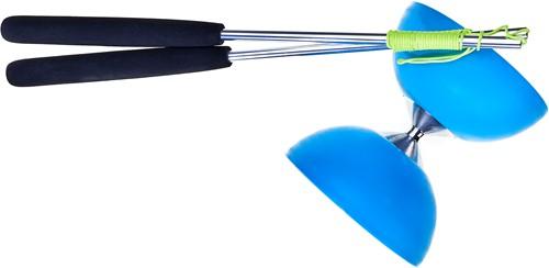 Acrobat Rubber Diabolo Met Aluminium Stokken - Lichtblauw