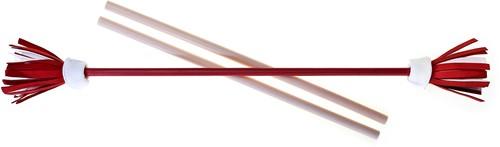 Acrobat Jongleerset Flower Stick Met Handstokken - Rood Schacht, Wit/Rood/Wit Bloem