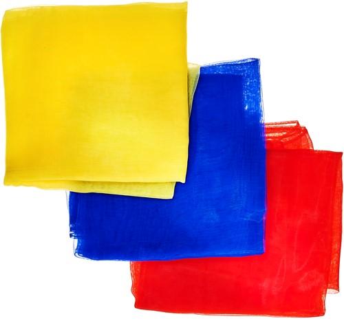 Acrobat 3 Jongleer Sjaaltjes (70 x 70 cm) - Blauw, Rood & Geel