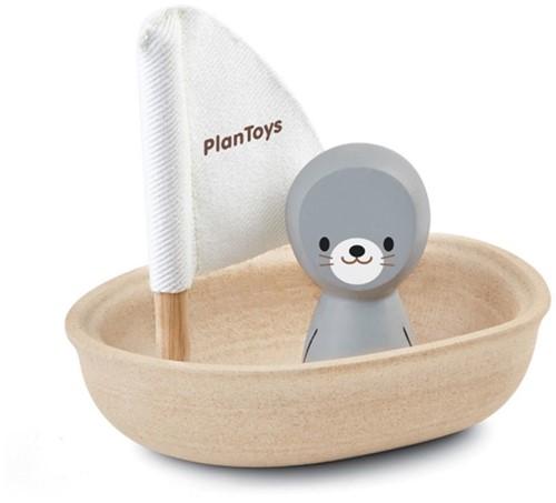 Plan Toys houten badspeelgoed zeilboot met zeehond