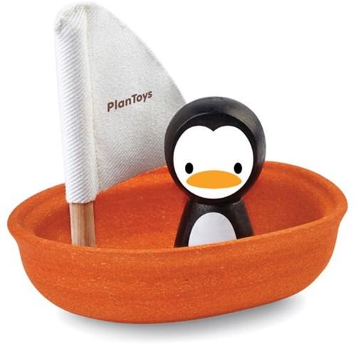 Plan Toys houten badspeelgoed zeilboot met pinguïn