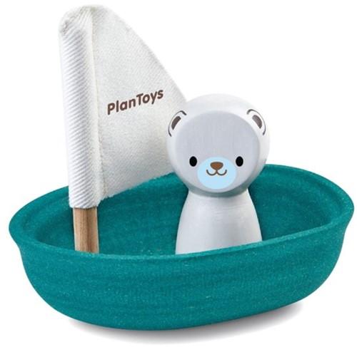 Plan Toys houten badspeelgoed zeilboot met ijsbeer