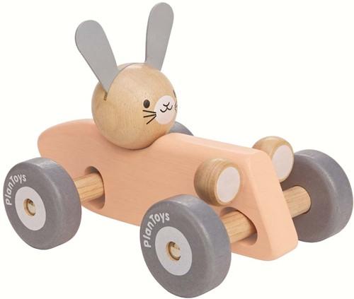 Plan Toys houten raceauto konijn pastel