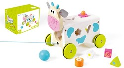 Scratch  houten trekfiguur Activity wagon koe