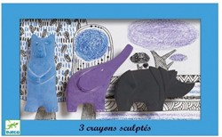 Djeco - Knutselspullen - Potloden - Crayons sculptés : bear, elephant, rhino
