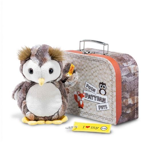 Steiff Posh Pattern Pets Eugen owl in suitcase, grey brown/cream