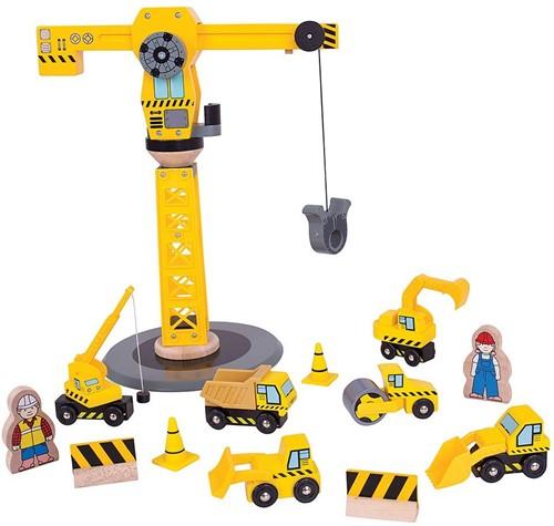 Bigjigs Big Yellow Crane Construction Set