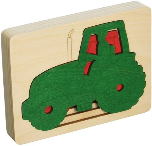 Hape Lagenpuzzel tractor - 5 stukjes