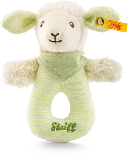 Steiff Lenny lamb grip toy with rattle, green