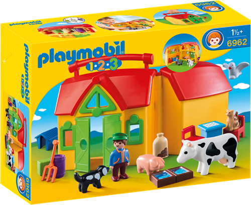 Playmobil 1.2.3 - Meeneemboerderij met dieren  6962