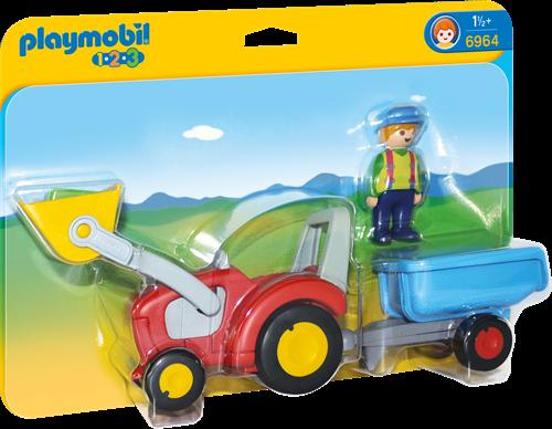 Playmobil 1.2.3 - Boer met tractor en aanhangwagen 6964