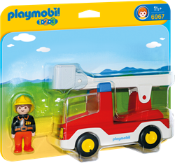 Playmobil 1.2.3 - Brandweerwagen met ladder  6967