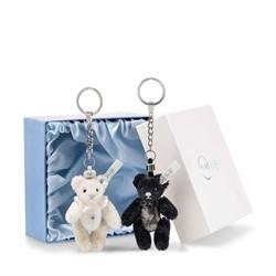 Steiff huwelijkscadeau Pendant wedding Teddy bear set, black/white 9 cm