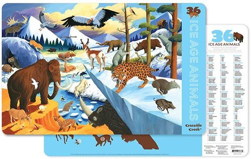 Crocodile Creek Placemats/36 Ice Age Animals (6 pcs)