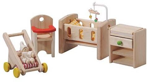 Plan Toys houten poppenhuis meubels babykamer