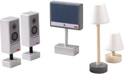 Haba  Little Friends poppenhuis accessoires Televisie en lampen