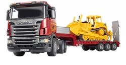 Bruder  Bouwplaats speelvoertuig Bruder Scania dieplader met CAT buldozer 3555