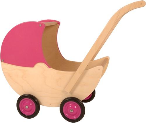 Van Dijk Toys Poppenwagen roze met vaste kap
